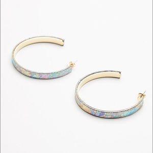 Leather Rainbow Hoop Earrings